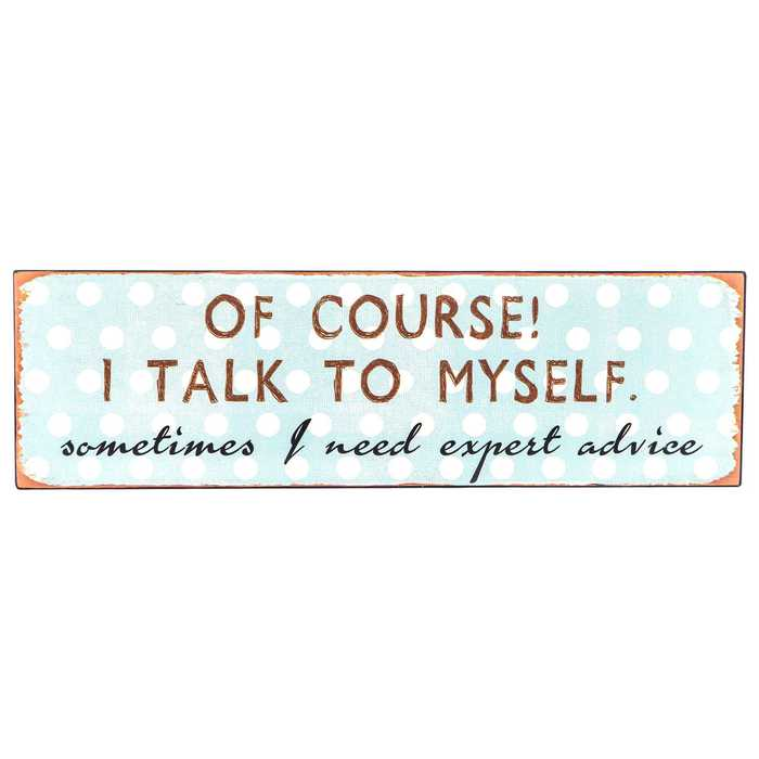 Hilarious Metal Sign Sometimes I Need Expert Advice of Course I Talk to Myself